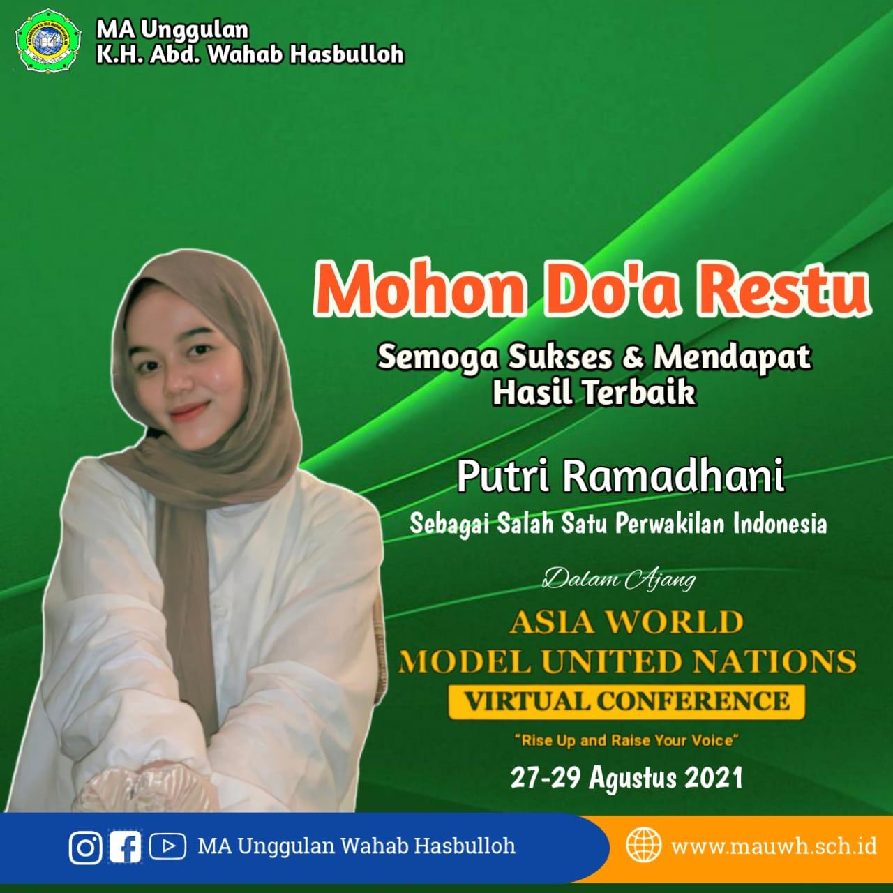 Putri Ramadhani, Siswi MAUWH, Delegasi Muda dalam Asia World Model United Nations Virtual Conference 2021